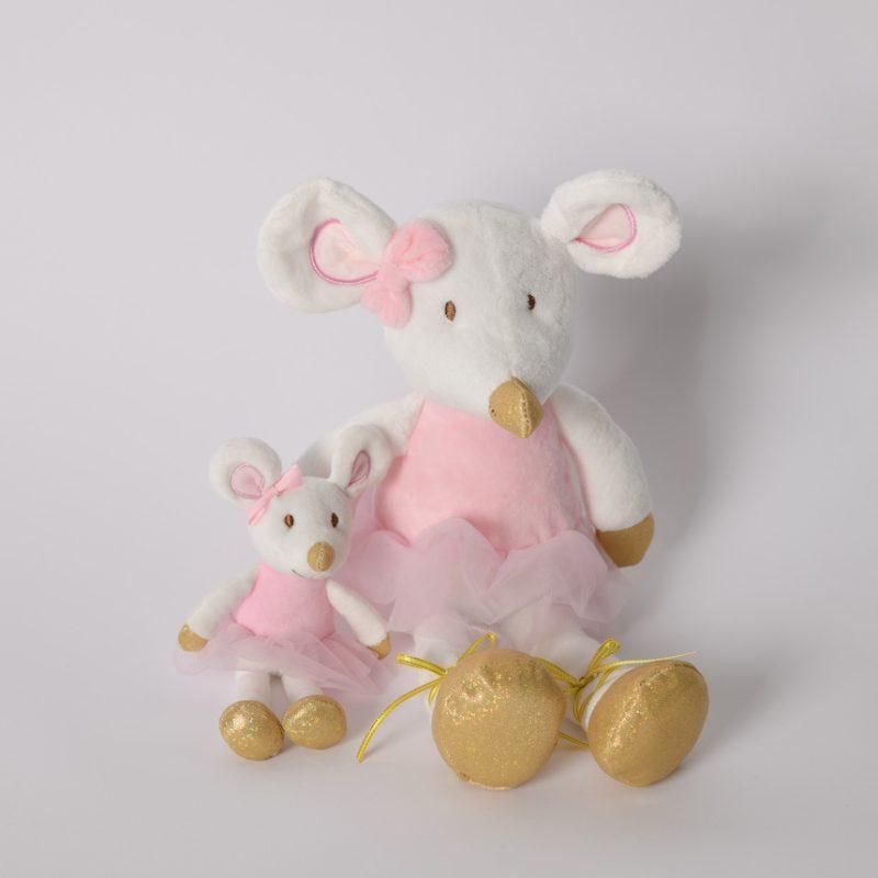 Peluche toute douce. Une souris blanche, portant un TUTU de Danseuse rose. Petits détails sont en Or.