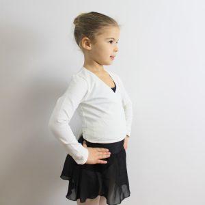 Cache-cœurpour la danse Ce cache-cœur blanc à manches longues, est en coton tout doux. Il est confortable et permet une grande liberté de mouvements.