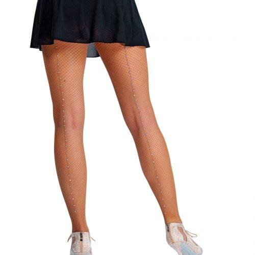Collant résille professionnel avec couture en Strass Swarovski Ces collants sont extrêmement durables et résistants. Ce Collant a la couture en de véritables strass de Swarovski. Cette paire de Collant est composes d'un élastique à la taille et d'une semelle confortable sous le pied. Sa matière galbe la jambe, ce qui donne une allure plus tonique et une silhouette plus élancée. Vos jambes seront sublimées et étincelantes quand vos danserez ou pour vos soirées et festivités. Fabrication italienne