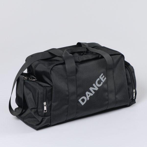 """Sac de Sport DANCE PRO est parfait pour les danseuses! Ce sac de danse, en polyester noir, est de grande capacité. Ce Sac de Sport, possède un grand réservoir central se fermant avec une fermeture et deux pochettes sur les cotés. Il contiendra facilement le nécessaire d'une danseuse pré-pro ou professionnelle . Le logo """"DANCE"""" est en paillettes argentées . Ce Sac de grande Capacité est parfait pour partir en weekend! Comme Cadeau de Noel pour tous passionnés de Danse Classique."""
