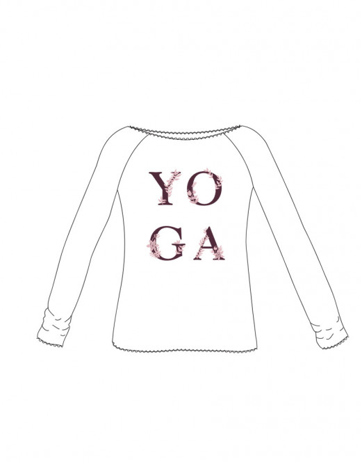 """Description: Ce T-Shirt de Yoga a des manches raglan et une finition bourdon , il a également sur le devant le logo """"Yoga"""". Avec sa matière très douce et agréable au toucher grâce a ses fils d origine naturelle végétale, il sera parfait pour faire vos séances de sport . Son encolure dégagée souligne bien le port de tête. Son tissu stretch sera parfait pour une grande liberté de mouvements"""