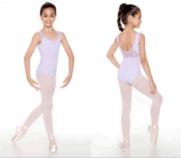 Justaucorps de danse Brettelles et croisé dans le dos en dentelle de la marque SODANCA, idéal pour la danse classique , jazz, contemporain