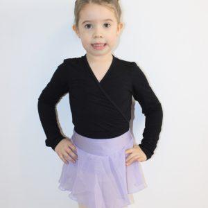 Cache-cœurpour la danse Ce cache-cœur noir à manches longues, est confortable et permet une grande liberté de mouvements. Il est idéal pour les enfants et les ados.